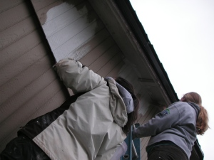 Brady and I painting siding.