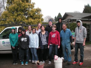 The awesome student crew and the homeowner we served.